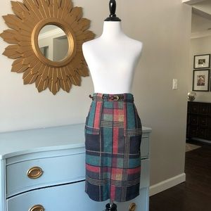 Shein multicolor plaid pencil skirt with belt